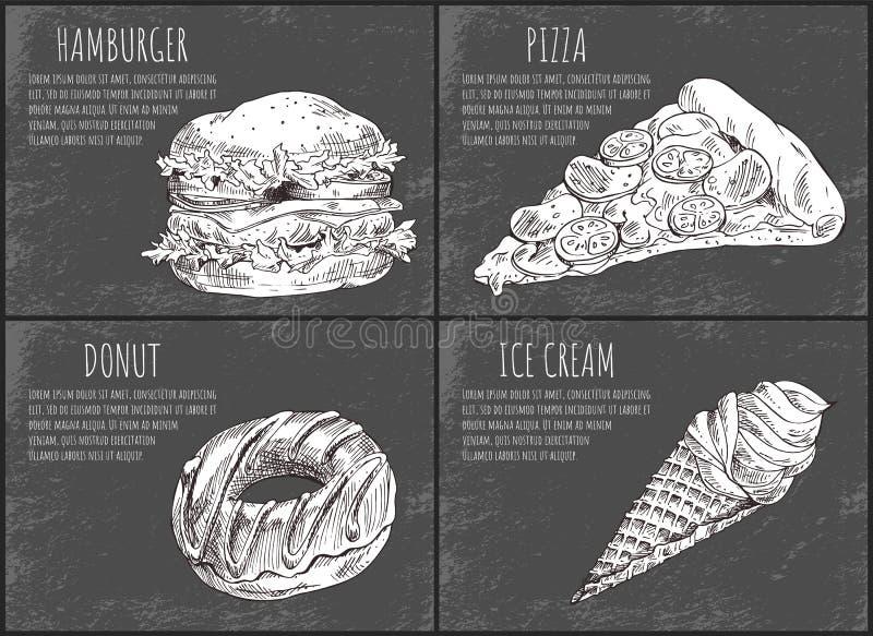 汉堡包快餐海报传染媒介例证 皇族释放例证