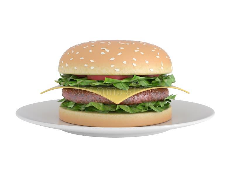 汉堡包查出的白色 库存例证