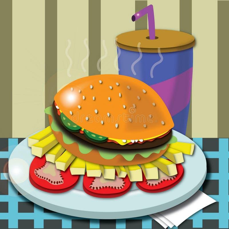 汉堡包用在咖啡馆的油炸物 免版税图库摄影