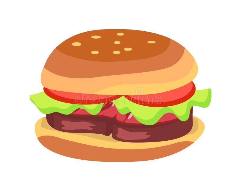 汉堡包用新鲜的蕃茄和莴苣叶子 向量例证