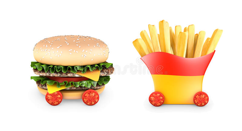 汉堡包用牛排,沙拉,乳酪,油炸物,西红柿 皇族释放例证