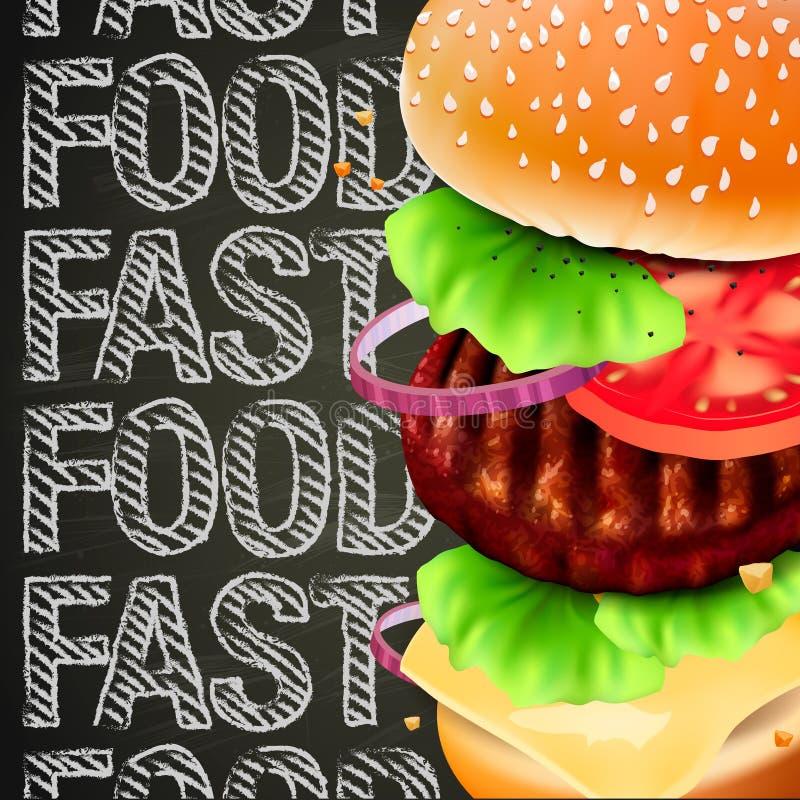 汉堡包用肉、莴苣、乳酪和蕃茄。 皇族释放例证