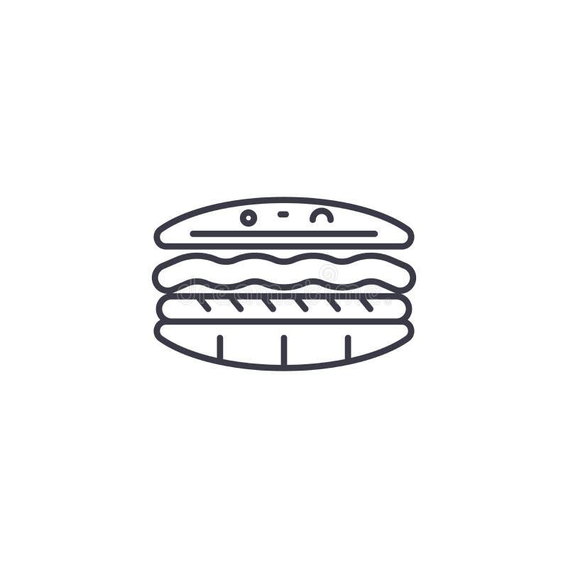 汉堡包线性象概念 汉堡包线传染媒介标志,标志,例证 库存例证