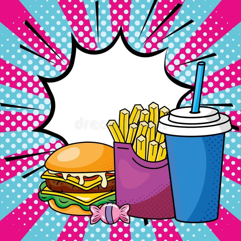 汉堡包薯条和苏打 向量例证
