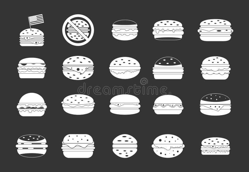 汉堡包象集合灰色传染媒介 向量例证