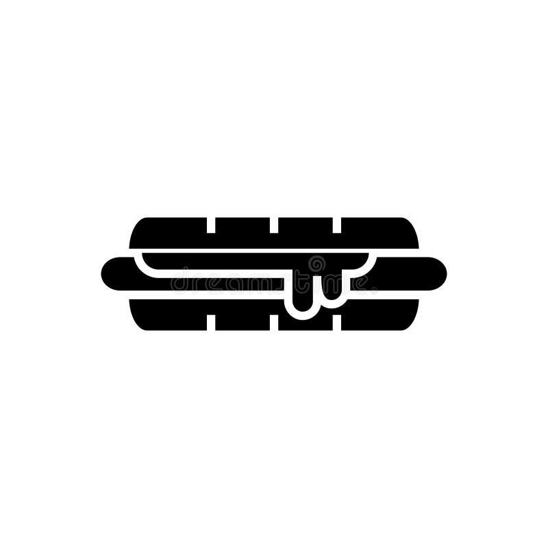 汉堡包象,传染媒介例证,在被隔绝的背景的黑标志 皇族释放例证