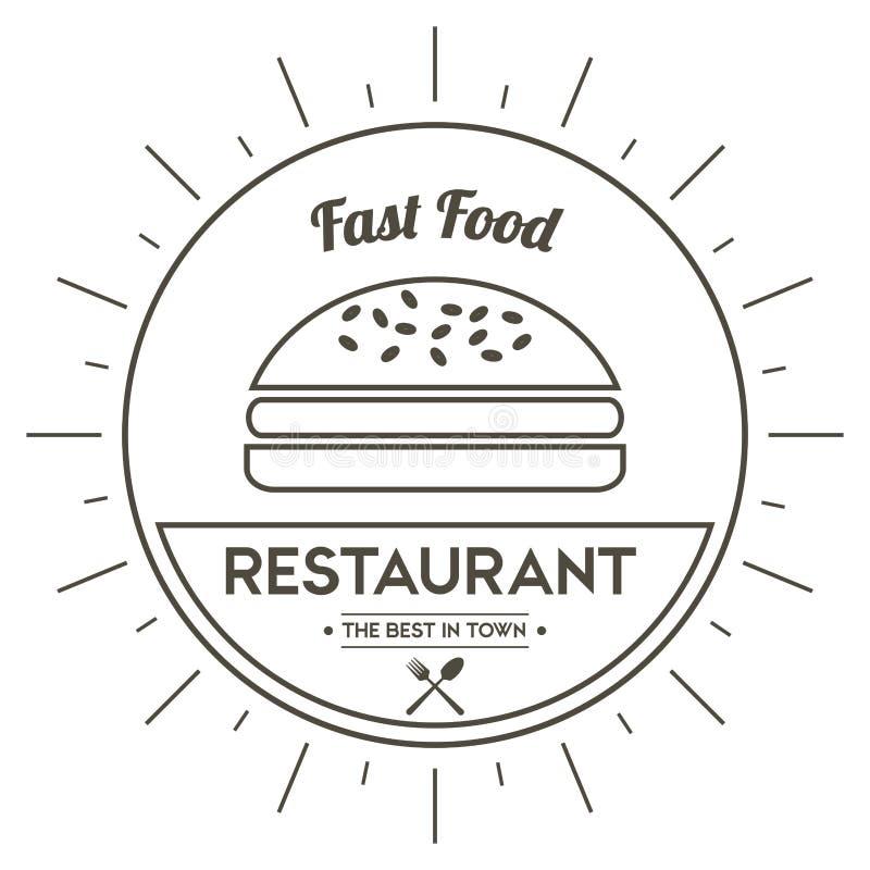 汉堡包象 菜单和食物设计 背景装饰图象风格化漩涡向量挥动 皇族释放例证