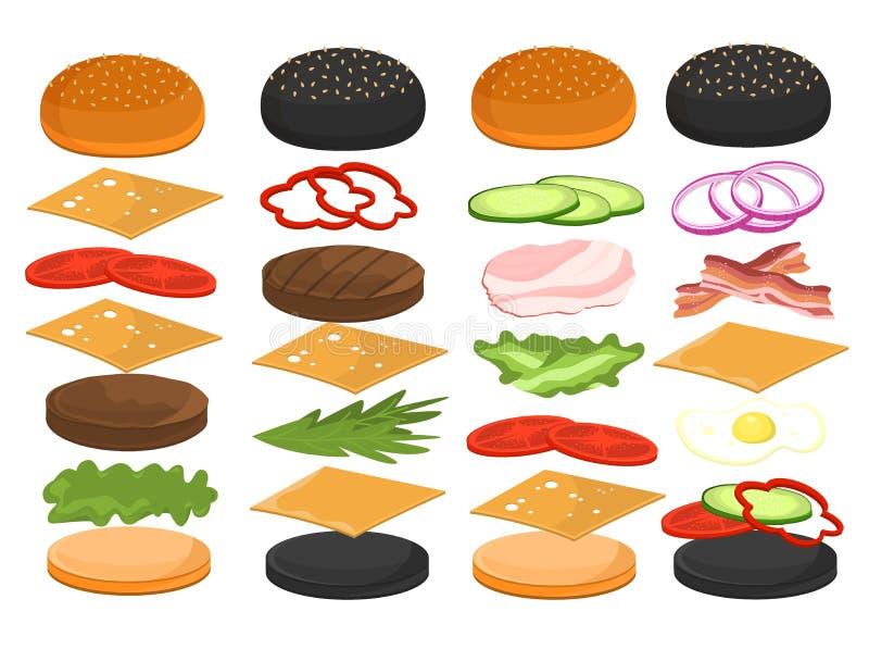 汉堡包食物三明治的汉堡成份导航例证 向量例证
