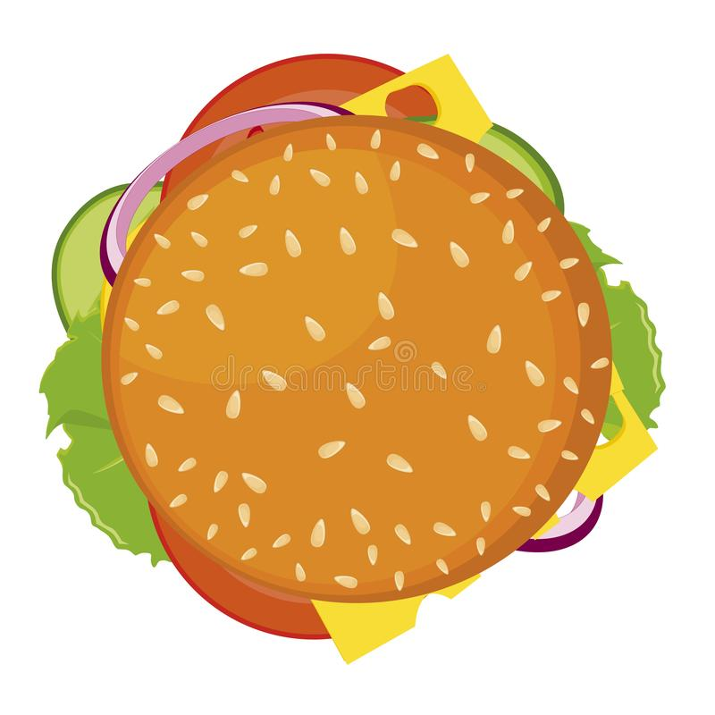 汉堡包,传染媒介象 在白色背景隔绝的详细的传染媒介象 皇族释放例证