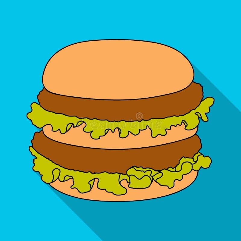 汉堡包,在平的样式的唯一象 汉堡包传染媒介标志股票例证网 库存例证