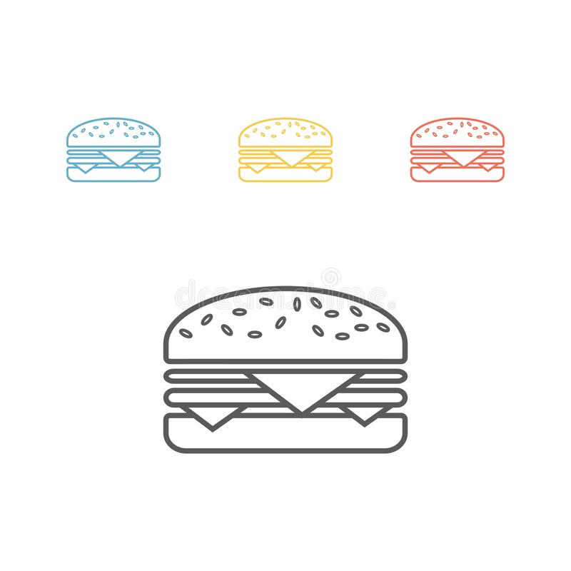 汉堡包 线象 签署向量 向量例证