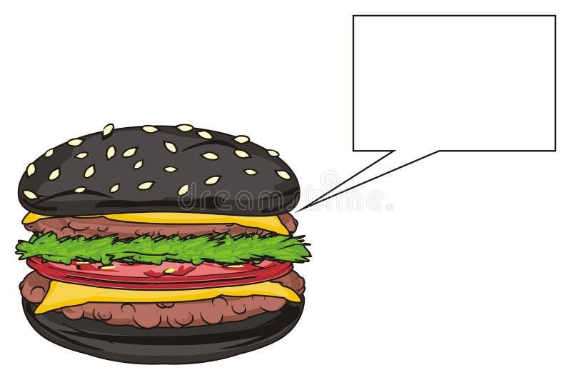 黑汉堡和干净的标志 向量例证