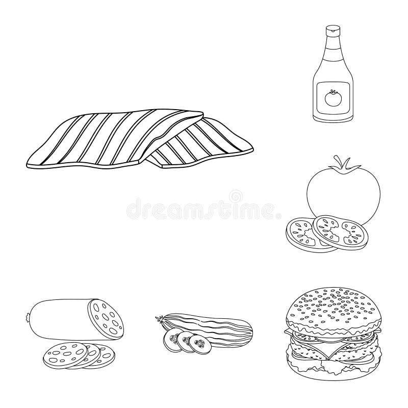 汉堡和成份概述在集合汇集的象的设计 烹调传染媒介标志股票网例证的汉堡 库存例证