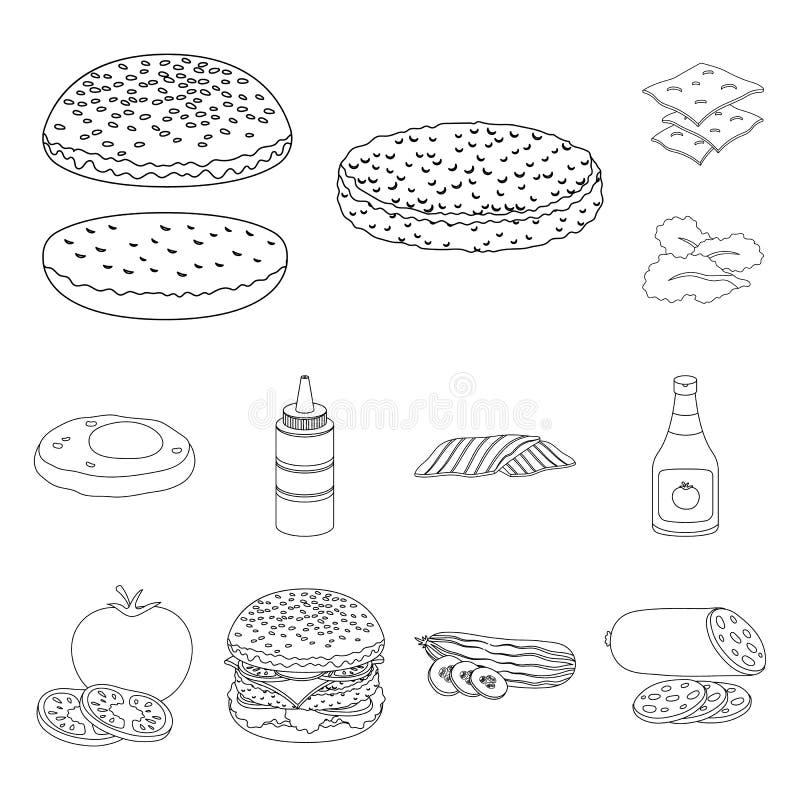汉堡和成份概述在集合汇集的象的设计 烹调传染媒介标志股票网例证的汉堡 向量例证