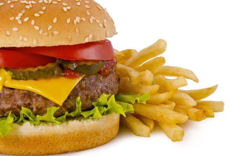 汉堡和炸薯条 免版税库存照片