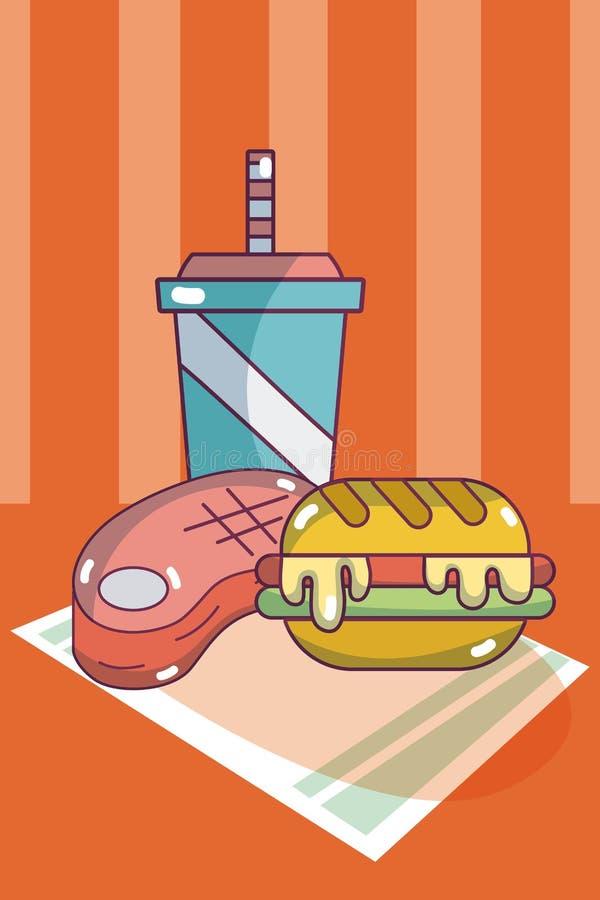 汉堡和苏打用牛排 向量例证