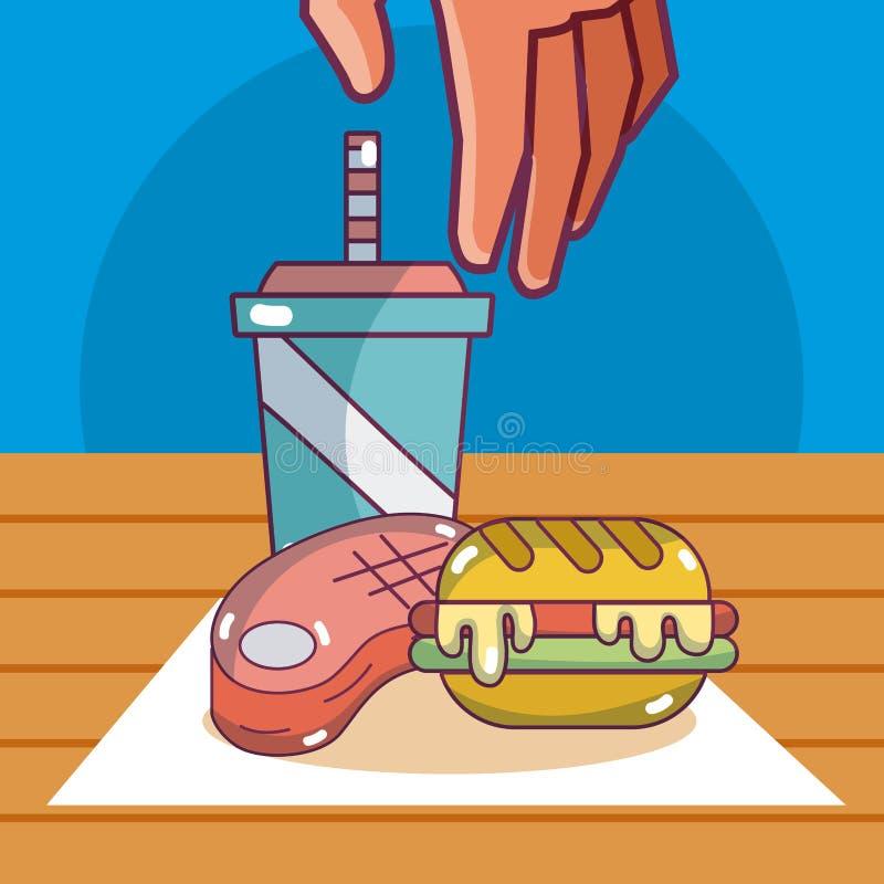 汉堡和苏打用牛排 库存例证