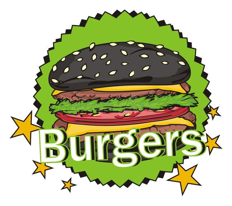 黑汉堡和绿色标志 向量例证