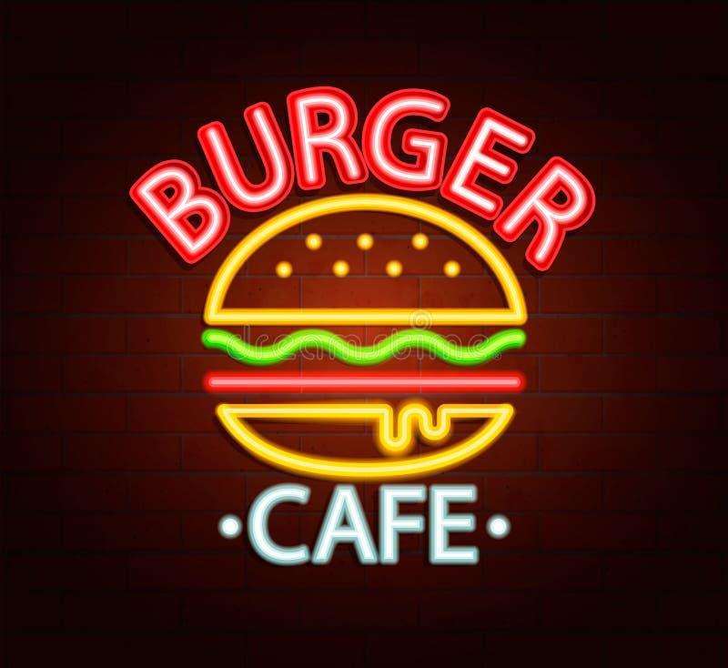 汉堡咖啡馆的霓虹灯广告 皇族释放例证