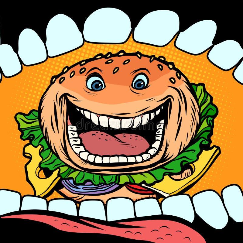 汉堡在嘴进来 库存例证