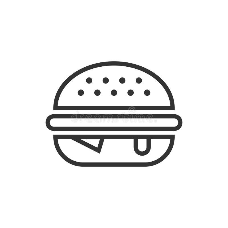 汉堡在平的样式的标志象 汉堡包在白色被隔绝的背景的传染媒介例证 乳酪汉堡企业概念 向量例证