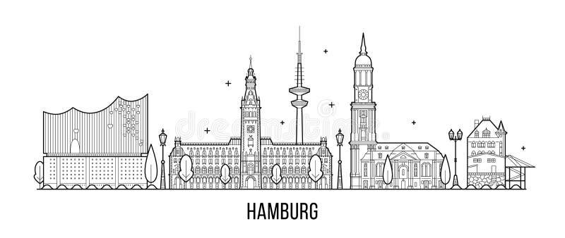 汉堡地平线剪影传染媒介线性样式 库存例证