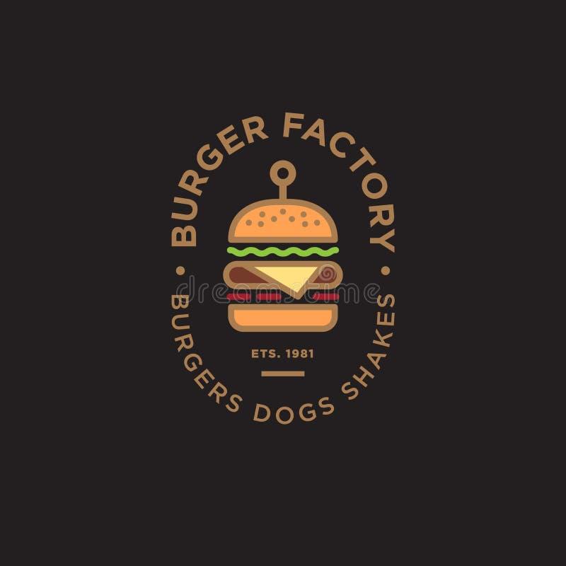 汉堡工厂商标 汉堡包餐馆象征 色的线性平的商标 大汉堡标志和信件在黑暗的背景 皇族释放例证