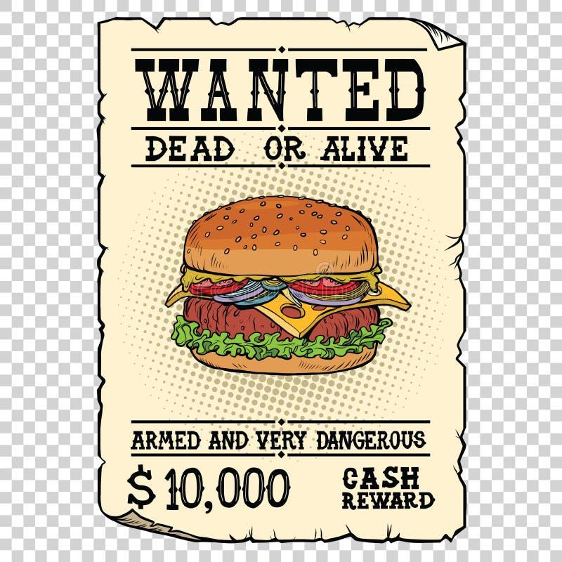 汉堡快餐想要死者或活 库存例证