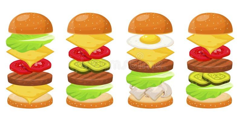 汉堡成份四个集合 库存例证
