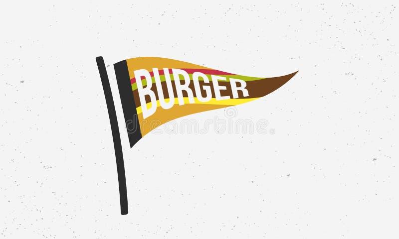 汉堡旗子商标 汉堡旗子横幅 酒吧或餐馆的现代海报 r 皇族释放例证