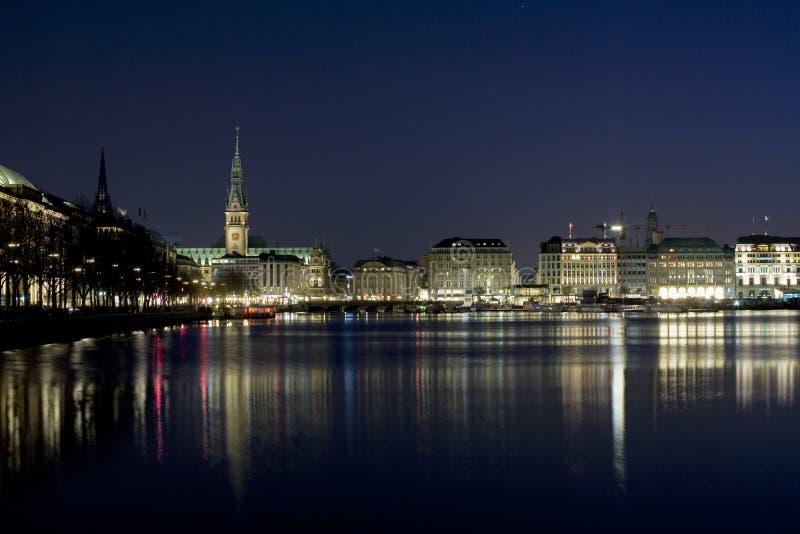 汉堡晚上 免版税库存照片