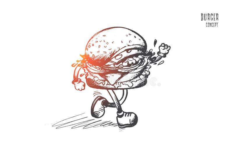 汉堡概念 手拉的被隔绝的传染媒介 向量例证