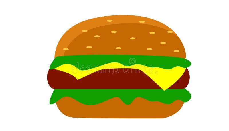 汉堡水多和新鲜用乳酪 向量例证