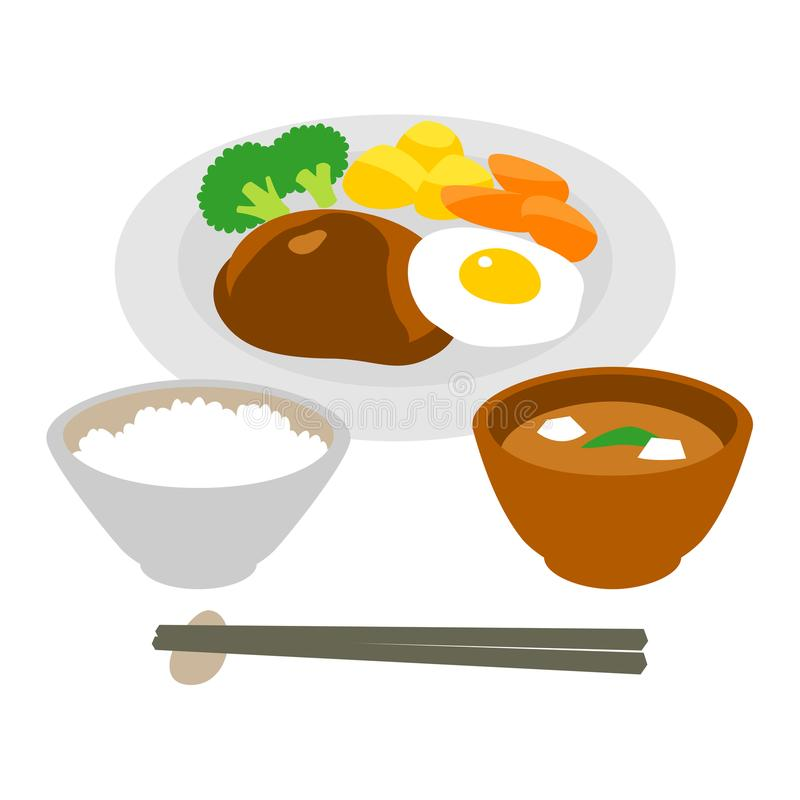 汉堡牛排和煎蛋,米,汤 库存例证
