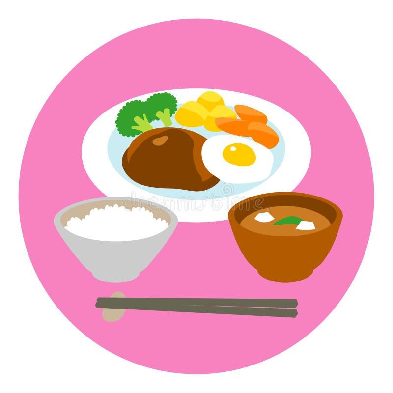 汉堡牛排和煎蛋,米,汤 皇族释放例证