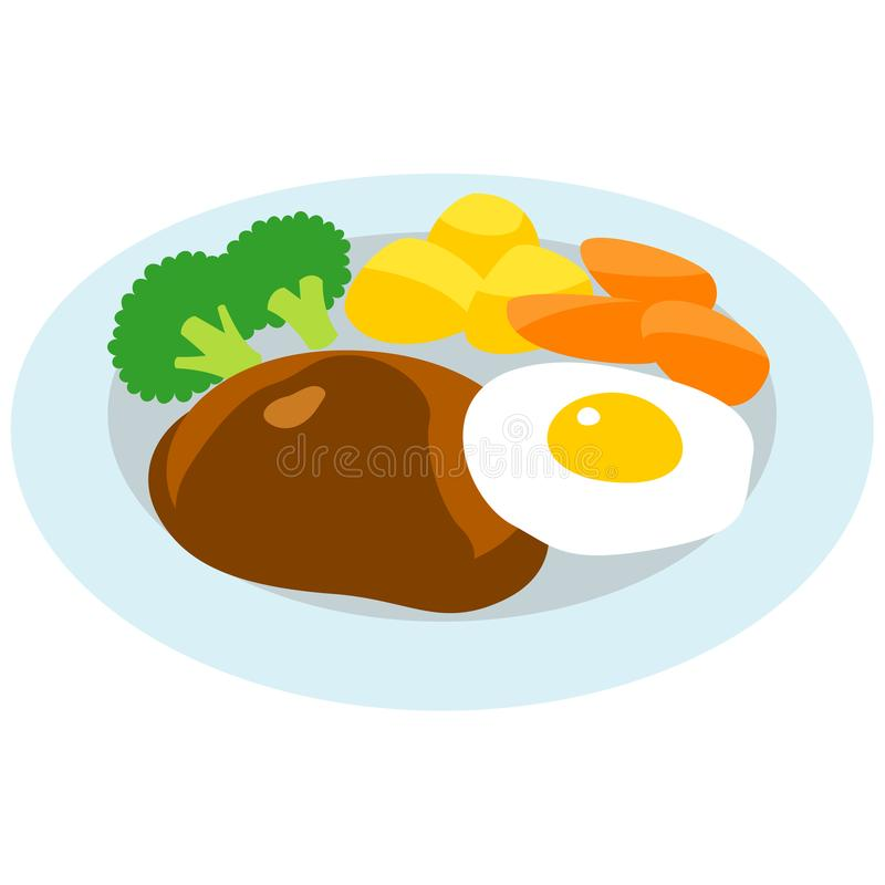 汉堡牛排和煎蛋 向量例证
