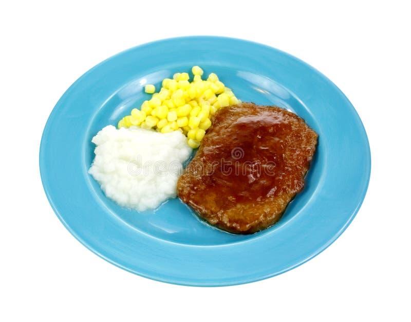 汉堡牛排玉米土豆 库存图片