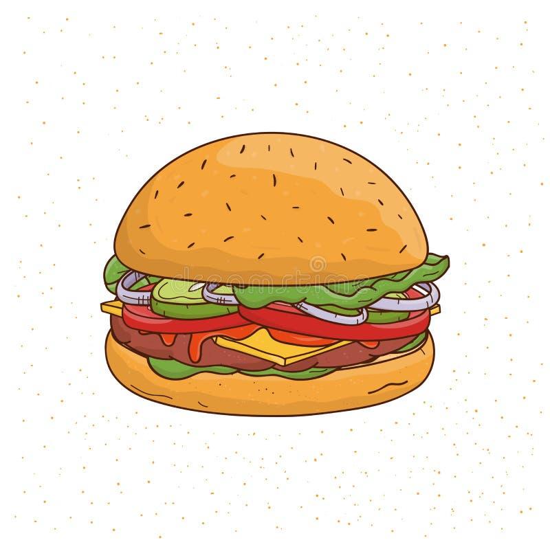 汉堡用乳酪、黄瓜、炸肉排、莴苣、葱、调味汁、蕃茄、牛肉和沙拉 五颜六色的手拉的传染媒介 皇族释放例证