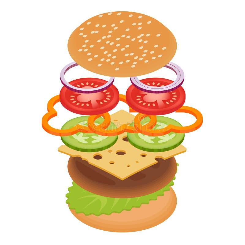 汉堡的传染媒介例证在白色背景的 向量例证