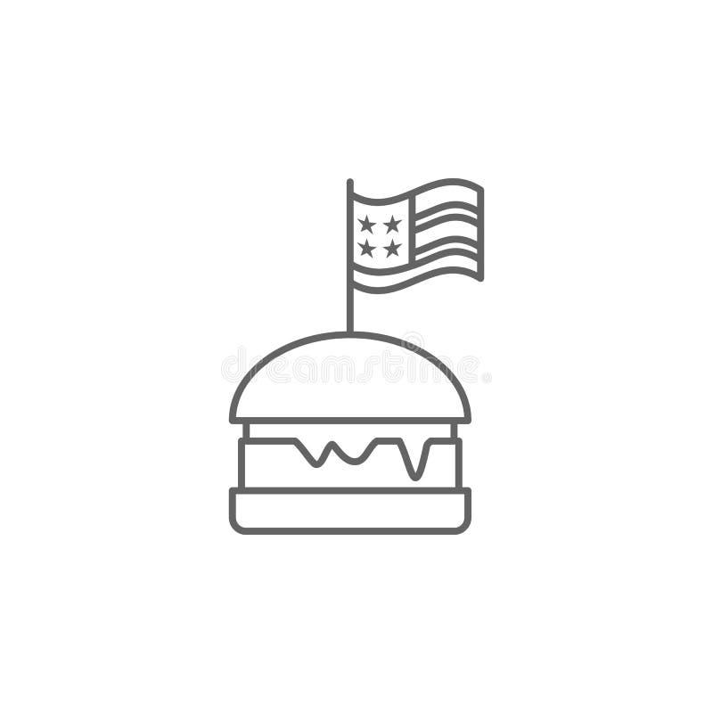 汉堡美国旗子概述象 E 库存例证