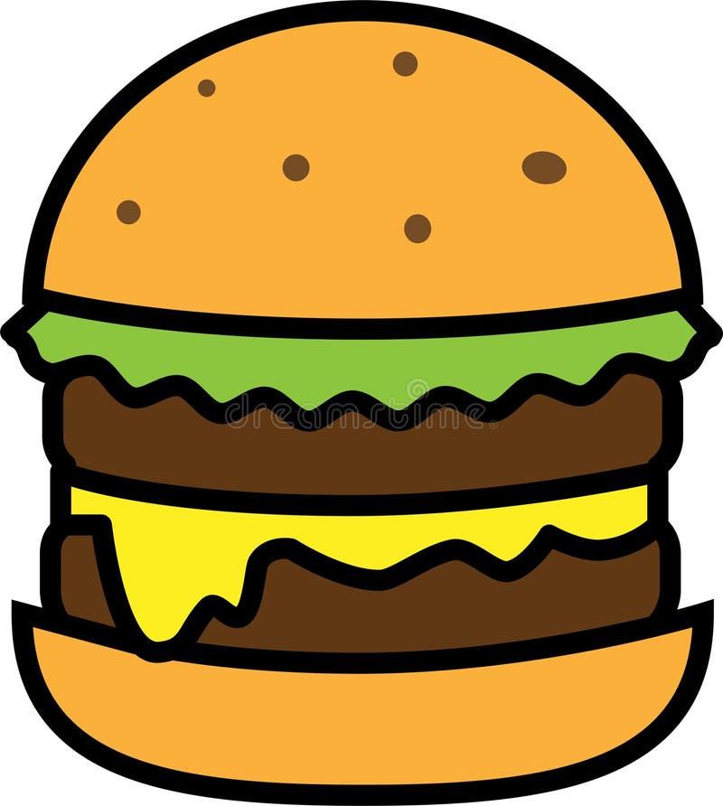 汉堡色的象用沙拉用乳酪和两剁 库存例证