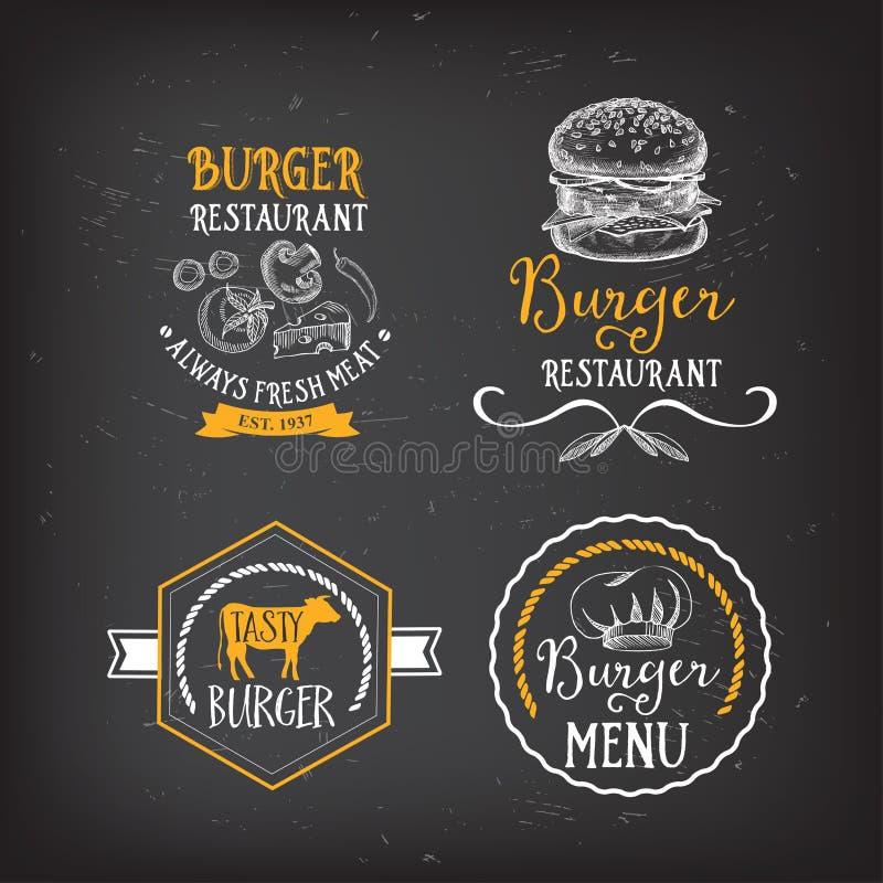汉堡菜单餐馆徽章 快餐设计模板 皇族释放例证