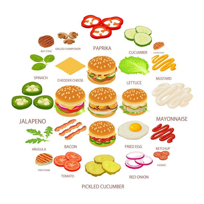 汉堡被设置的成份象,等量样式 库存例证