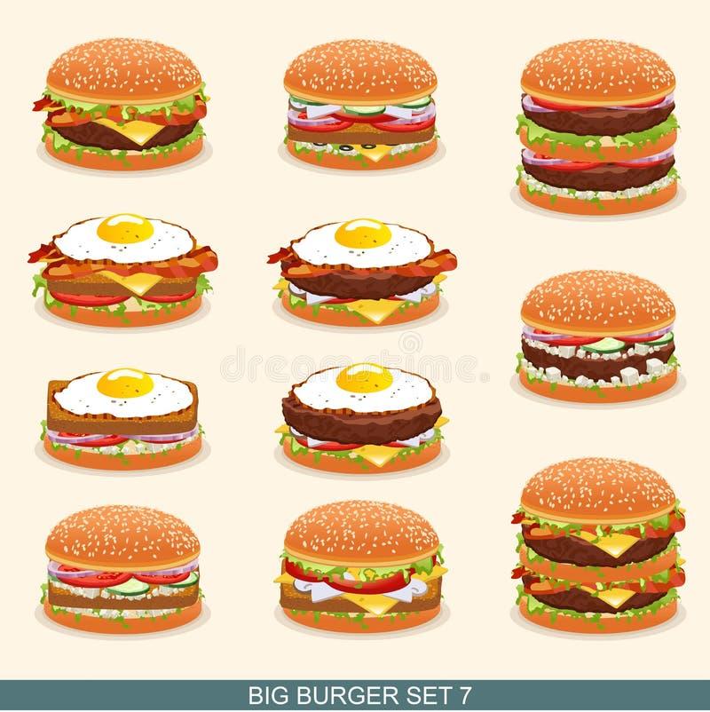 汉堡设置了7 向量例证