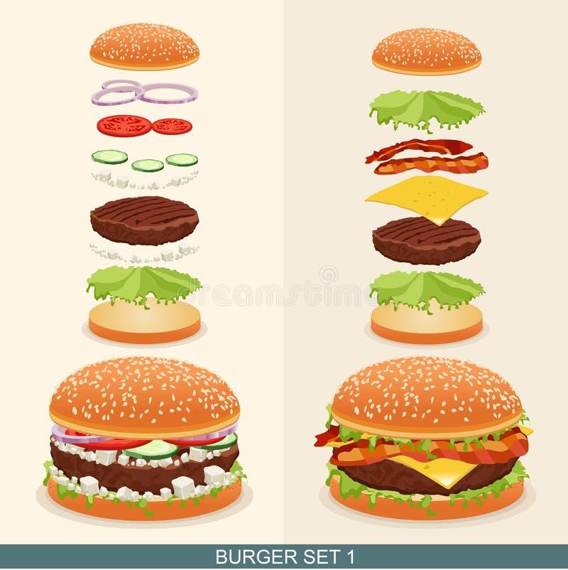 汉堡设置了1 向量例证
