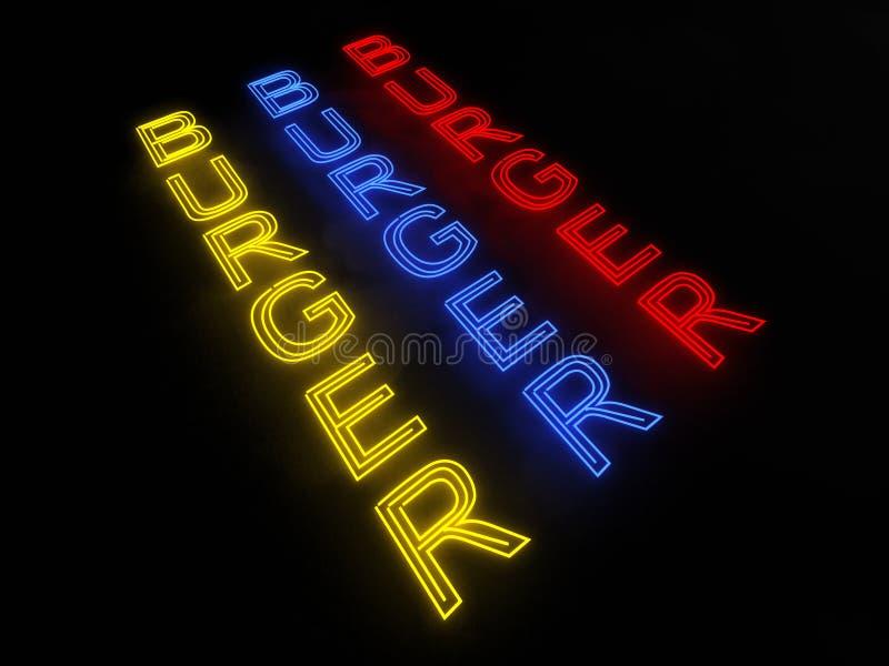 汉堡霓虹灯广告 免版税库存图片