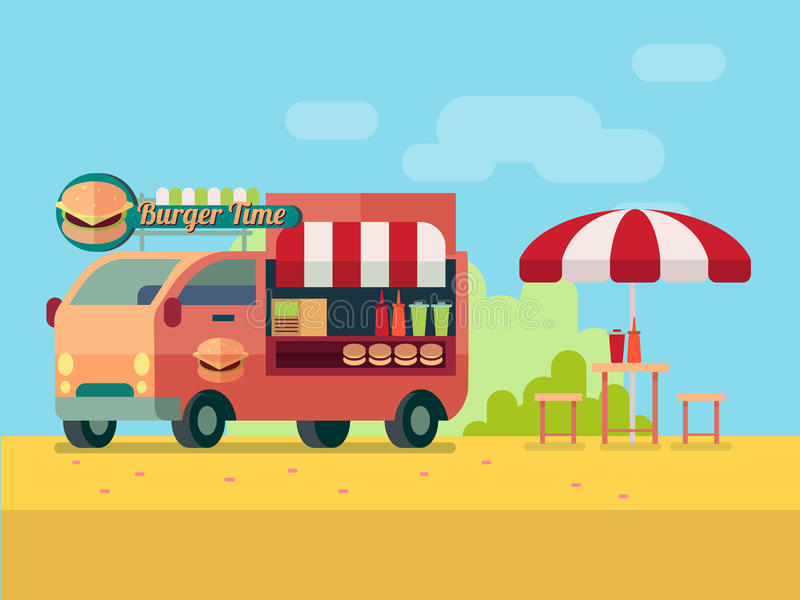 汉堡食物卡车平的样式传染媒介例证 库存例证