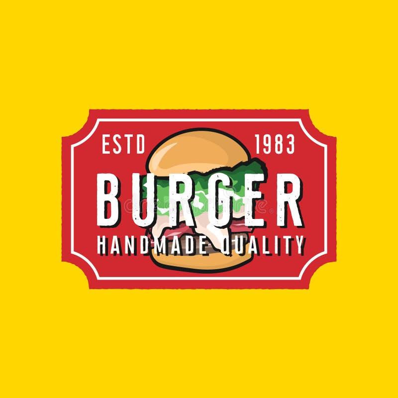 汉堡餐馆在葡萄酒样式的商标模板 库存例证