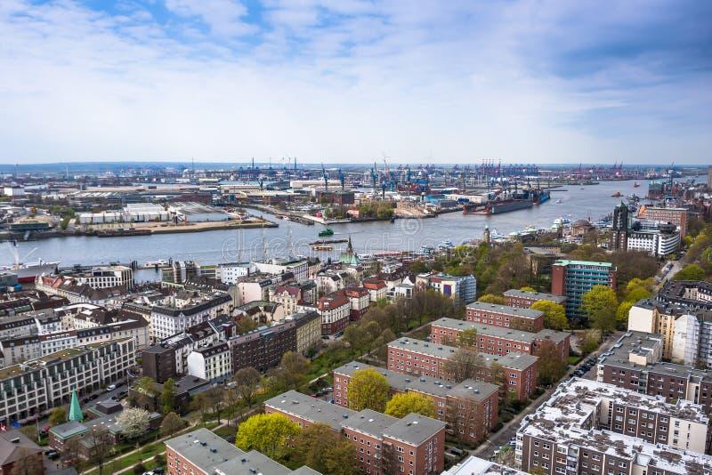 汉堡鸟瞰图在德国 免版税库存照片