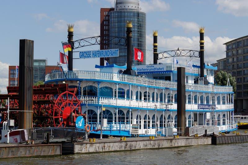 汉堡,德国- 2015年7月18日:明轮船路易斯安那星轮渡 它` s根据美国sternwhe的客船 免版税库存图片